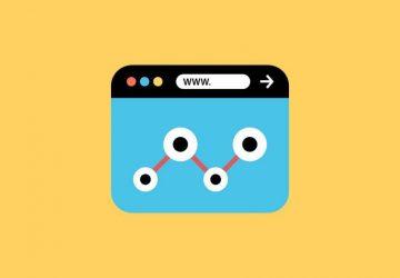 Webbrowser Illustration auf dunkelgelbem Hintergrund