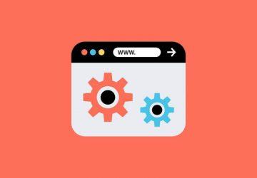 Webbrowser Illustration auf dunkelrotem Hintergrund