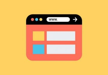 Webbrowser Illustration auf gelbem Hintergrund
