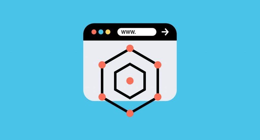Webbrowser Illustration auf hellblauem Hintergrund
