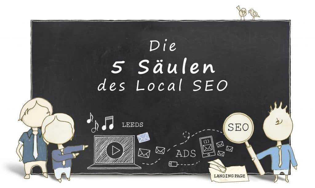 Illustration - die 5 Säulen des Local SEO