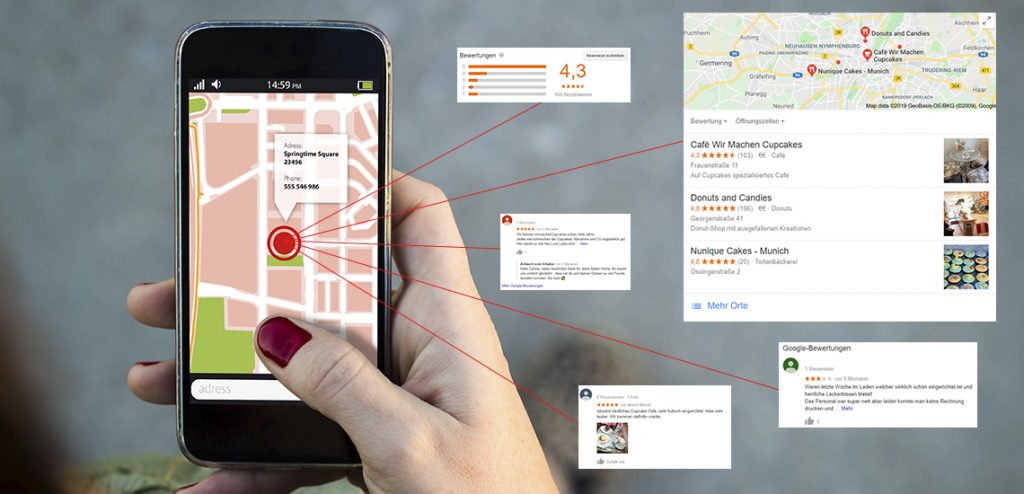 Lokale Suchanfrage mit dem Smartphone