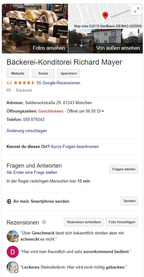 """Google Knowledge Panel für das Keyword """"Konditorei München"""""""