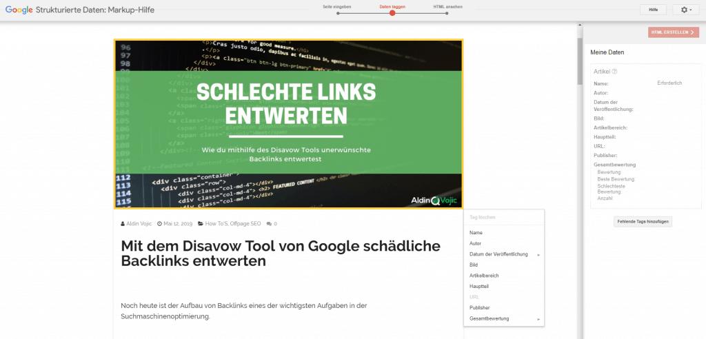 Google Markup Helper - Elementauswahl