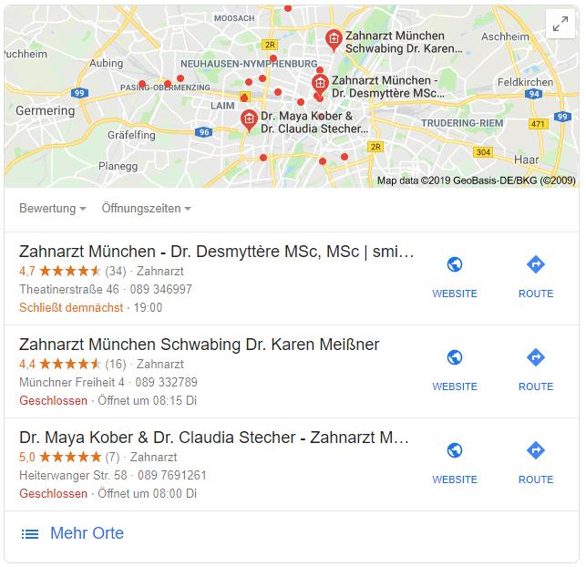 """Local Snack Pack zur Suche """"Zahnarzt München"""""""