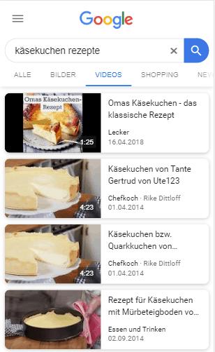 """Rich Cards zum Thema """"Käsekuchen Rezepte"""""""