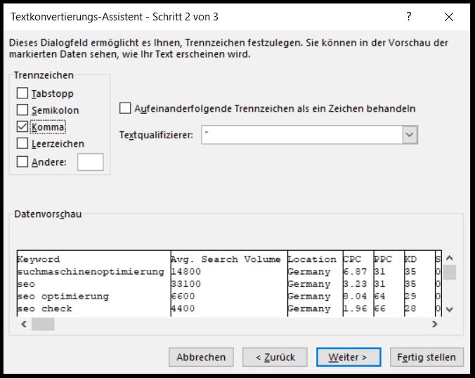 Excel Funktion - Texte in Spalten umwandeln