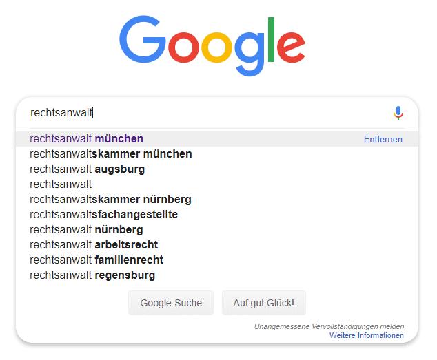 """Google Suggest Ergebnisse zum Thema """"Rechtsanwalt"""""""