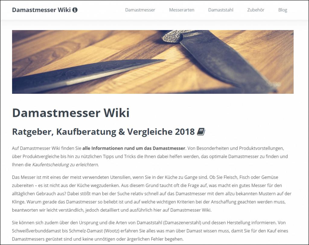 Startseite der Keyword-Domain Damastmesser-Wiki
